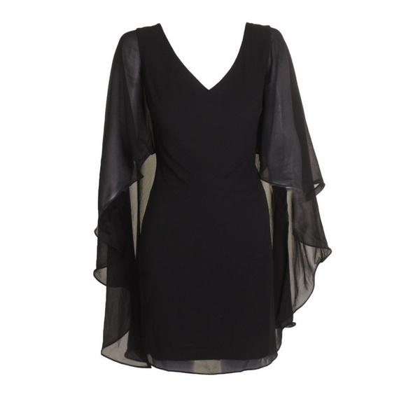 Lauren Ralph Lauren Dresses Black Sheercape Crepe Dress Poshmark